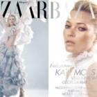 Kate Moss, in rochii McQueen pe doua coperte Harper's Bazaar UK