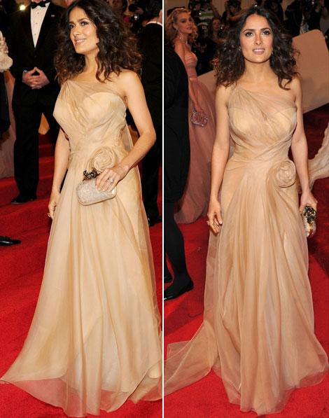 Salma Hayek in rochie nude alexander mcqueen la gala met 2011