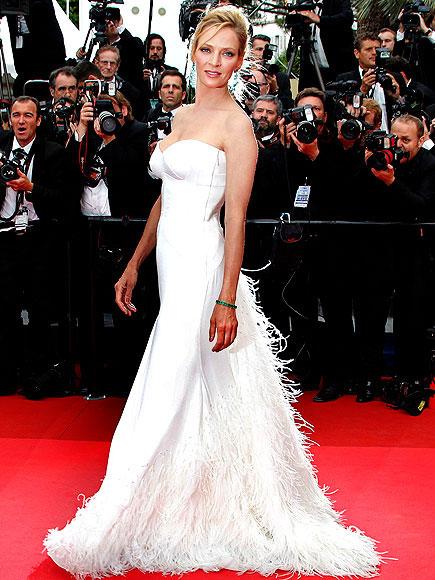 uma thurman in rochie alba la festivalul de film
