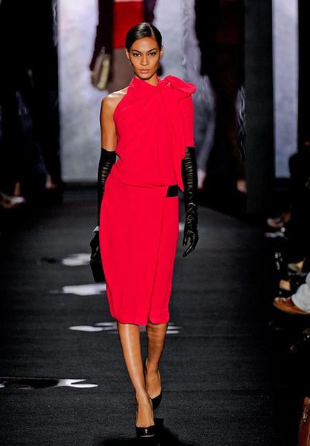 Rochie din matase asimetrica, red hot, midi