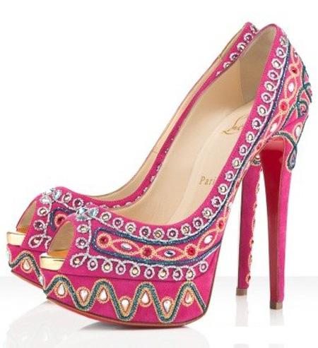 pantofi din piele intoarsa hot pink, toc foarte inalt, cu paiete si cristale