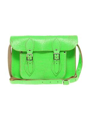 geanta gen postas, vintage, verde neon