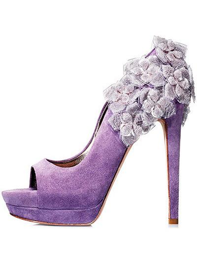 Pantofi din piele intoarsa, cu toc foarte inalt si platforma, purple, cu detalii florale din dantela aplicate manual
