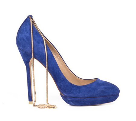 Pantofi din piele intoarsa, albastri, cu platforma si toc foarte inalt