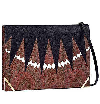 Plic din material textil, cu imprimeuri paisley, in nuante de rosu, maro si negru
