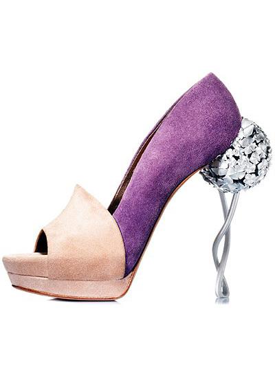 Pantofi din piele intoarsa, cu paltforma, in nuante de nude si purple, cu un toc inalt