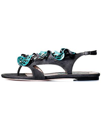 Sandale plate, de vara, din piele neagra cu accesorii din piele turcoaz, pentru o tinuta sport-chic sau casual