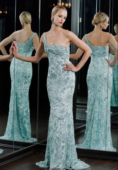 Rochie asimetrica din matase soft bleu, cu decolteu