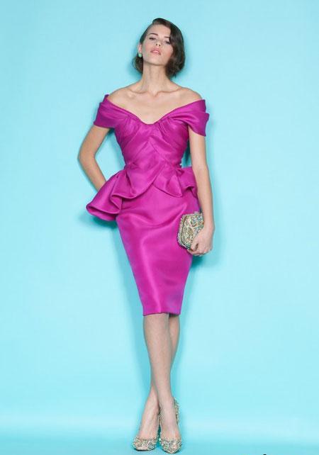 Rochie din satin, hot purple, cu fusta conica si midi