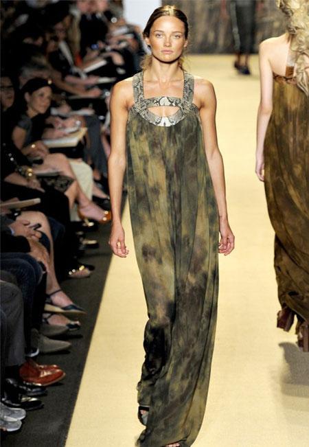 Rochie maxi din matase, in nuante de olive si verde, larga