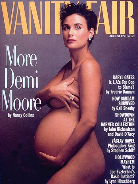 a aparut goala si insarcinata pe coperat unei reviste de moda in anul 1991, cand actrita era insarcinata cu Bruce Willis