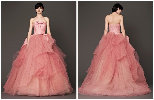 Rochie de mireasa colorata colectia de toamna 2014 semnata Vera Wang
